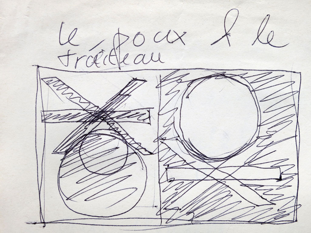Claude Closky, 'Le poux et le tréteau [the louse and the trestle]', 1988, black ball point pen on paper, 8 x 12 cm.